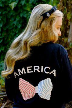 Navy Blue America Monogram Pocket Long Sleeve Shirt by devonalana, $25.50