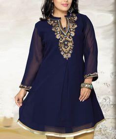 Look what I found on #zulily! Dark Blue Chiffon Notch Neck Dress #zulilyfinds