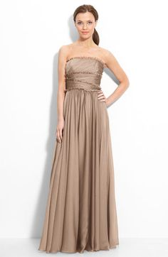 ML Monique Lhuillier Bridesmaids Strapless Chiffon Gown (Nordstrom Exclusive) | Nordstrom