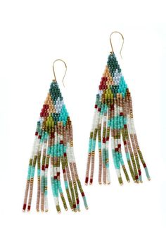Explore your artistic side with our Palette earrings. Daubs of color adorn this beaded fringe earring.Glass and gold-plated beads and french ear-wires. Beaded Earrings Patterns, Seed Bead Patterns, Seed Bead Earrings, Boho Earrings, Beading Patterns, Fashion Earrings, Native American Earrings, Native American Beading, Beading Tutorials