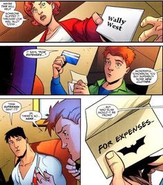Batman looking out for Superboy - Superboy and Wally - Young Justice Comic Book