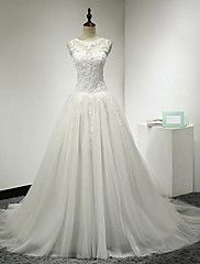 A-Line+Illusion+Neckline+Court+Train+Tulle+Wedding+Dress+with+Appliques+by+DRRS+–+USD+$+425.00