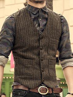 New England Vintage Men& wool tweed casual gil .- New England Vintage Men& wool tweed casual vest suit Slim fit Vest Wedding Vest - Traje Slim Fit, Costume Slim, Retro Mode, Suit Vest, Vest Men, Waistcoat Men Casual, Tweed Waistcoat, Herren Outfit, Vest Outfits