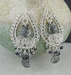 Gray black clear stone wire wrapped big earrings, sterling silver - these one of a kind earrings are a conversation piece. I hand formed the