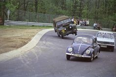"""Hobbydrivers in the 70s at the tricky curve of """"Adenauer Forst"""""""