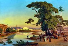Sunset in Cairo 1846 By Johann Jakob Frey Places In Egypt, Le Nil, Mysterious Places, Soul Art, Ways Of Seeing, Egyptian Art, Ancient Civilizations, Cairo, Green Colors