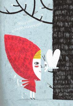 """Paloma Valdivia (Chile), ilustración para """"Caperucita Roja"""", de Gabriela Mistral, Editorial Amanuta."""