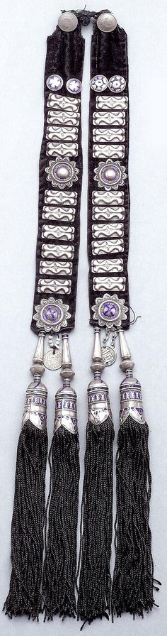 Central Asia | Silver and enamel hair tassel from the Kazakh from Kustanai region. | 19th century | Bir collection.