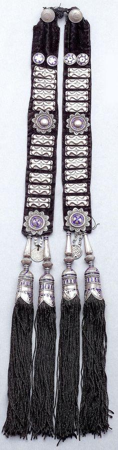 Central Asia | Silver and enamel hair tassel. Kazakh from Kustanai region. | 19th century | Bir collection
