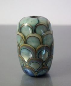 Dragon scale focal lampwork bead in silver, copper green and ivory, by FireballGlass