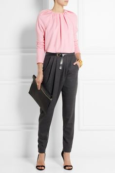 Vionnet | Belted stretch-wool twill tapered pants | NET-A-PORTER.COM