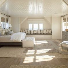 Attic Master Bedroom Inspirations - For the Home - Einrichtungsideen Attic Master Bedroom, Attic Bedroom Designs, Attic Bedrooms, Coastal Bedrooms, Bedroom Loft, Home Bedroom, Attic Bathroom, Gray Bedroom, Gray Bedding