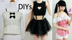4 DIY Shirt/Top/Blouse Transformations | DIY Heart Keyhole Suspender Top...