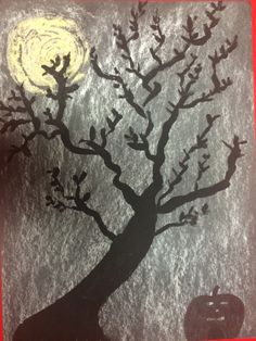 Chalk and oil paint Halloween Night