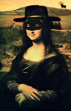 Mona Lisa mask of zoro Monet, Cool Pictures, Funny Pictures, La Madone, Mona Lisa Parody, Mona Lisa Smile, Hokusai, Renaissance Artists, Famous Artwork