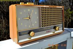"""BUFF PINK Retro Space Age 1957 Sylvania Model 1322 Tube AM Clock Radio Sounds Great! DIMENSIONS: Approximately 14"""" x 5 x 8"""" (l x w x h) COLOR:Pink, yellowed to"""