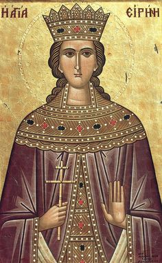The holy Great Martyr Irene was born in the city of Magedon in Persia during the fourth century. She was the daughter of the pagan king Licinius, and her parents named her Penelope. Penelope was very beautiful, and her father… Byzantine Art, Byzantine Icons, Religious Paintings, Religious Art, Christian Virtues, Pagan Gods, Sign Of The Cross, Catholic Saints, Orthodox Icons