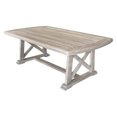 Complete your outdoor gathering space with the Courtyard Casual Surf Side Outdoor Coffee Table . This rustic focal point for your patio area offers a. Solid Wood Coffee Table, Outdoor Coffee Tables, Outdoor Dining Set, Dining Sets, Picnic Tables, Dining Room, Teak Outdoor Furniture, Refurbished Furniture, Table Furniture