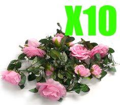 10 x Pink Rose Garland Silk Wedding Flowers Arch Decor