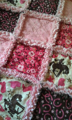 Baby Girl Rag Quilt Wanna Be A Cowgirl Riley by flutterflybaby, $58.00