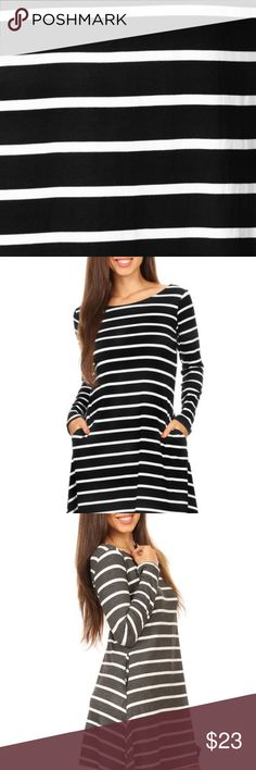 Long Sleeve Striped Dress.  NWT.  4 Colors Avail Long sleeve Stripe Dress With V-Drop on the back packs chic, versatile style into one very chic dress! Great over leggings also.  • Scoop Neckline  • Long Sleeve  • Side Pockets  • Closure Style: Pullover  • Rayon/Spandex  • Machine wash, lay flat to dry   Content: 95% Rayon, 5% Spandex  Order Black, Charcoal, Dusty Rose, Denim Blue-leave at checkout Dresses Long Sleeve