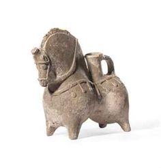 A PARTHIAN HORSE-SHAPED POTTERY VESSEL  CIRCA 3RD CENTURY A.D.