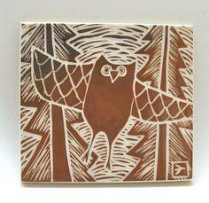 ceramic tile woodland owl