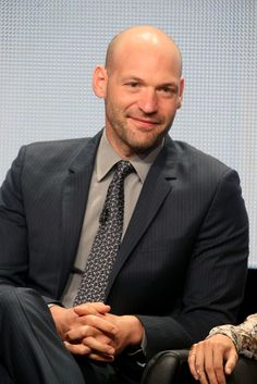 Corey Stoll Photos - Actor Corey Stoll speaks onstage at 'The Strain' panel during the FX Networks portion of the 2014 Summer Television Critics Association at The Beverly Hilton Hotel on July 2014 in Beverly Hills, California. Bald With Beard, Bald Men, Corey Stoll, Receding Hair Styles, Blue Green Eyes, Bald Hair, Male Pattern Baldness, Sexy Men, Hot Men
