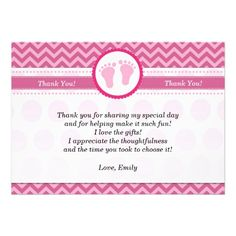 Chevron Pink Baby Shower Thank You Card