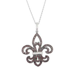 Color Sterling Silver White and Brown Cubic Zirconia Fleur de Lis... ($27) ❤ liked on Polyvore featuring jewelry, necklaces, brown, long pendant necklace, chain pendant necklace, cubic zirconia pendant necklace, long necklace and sterling silver cubic zirconia necklace