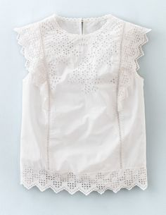Broderie Top WA708 Sleeveless Tops at Boden