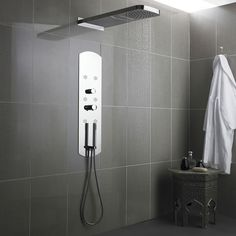 Interval Chrome Fully Recessed Thermostatic Shower Panel & Head - Shower Panels