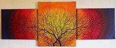 Titre de l'œuvre : Silhouette de branchages.  Triptyque réalisé à la peinture acrylique (Studio, Pébéo) et au Posca (Uni, style de peinture acrylique) sur châssis en bois entoilé en lin blanchi. (Fond de toile réalisé à la peinture acrylique Studio, et silhouette noire réalisée au Posca) Format général de l'œuvre (1,5 cm d'espace entre chaque) : 144 cm x 55,5 x 2 cm. #silhouette #branchages #branches #arbres #art #moderne #design #tableau #contemporain #posca #acrylique