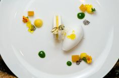 Baked Passion Fruit Meringue Sandwich with Coconut Sorbet, Passion Fruit Gelee, Basil Syrup, and Passion Fruit Pearls