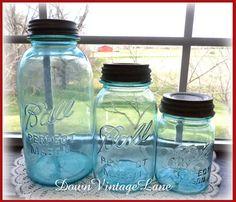 Blue Ball Jars Set of 3  HALF Gallon Quart and by DownVintageLane