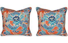 Set of 2 Imperial Dragon 19.5x19.5 Pillows - Miles Talbott