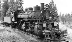 Long-Bell Lumber Company Baldwin 2-6-6-2 Mallet articulated oil burning steam locomotive № 1001, is in logging service and is seen in the area of Tennant, California, 1948.