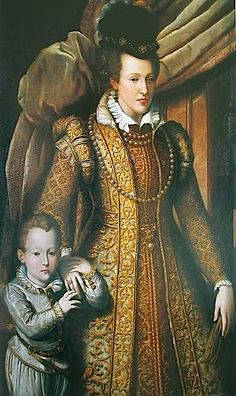 1586 posthumous portrait of Juana de Austria (1547-1578) con su hijo Filippo (1577-1582) by Giovanni Bizzelli (Uffizi).  Gorgeous clothes.  She died after injuries from giving birth to her eighth child.  Sadly, the child died the day before she did.