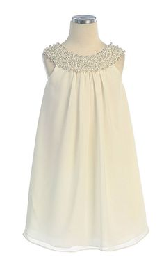 Flower Girl Dresses #SK384I : Simple Chiffon Dress w/ Beaded Neckline Girl Dress