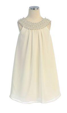 Flower Girl Dresses #SK384I : Simple Chiffon Dress w/ Beaded Neckline Girl Dress