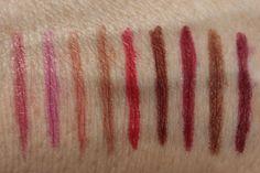 Jordana Retractable Lip Liner: (L to R) Baby Berry, Silver Lilac, Tawny, Rock n Rose, Sedona Red, Terra Kiss, Plush Plum, Coco Loco, Cabernet