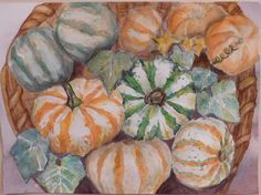 """Still Life Watercolor Painting Original 9"""" x 12"""" Art Wall Hanging Autumn Landscape Harvest Gourds. This painting is 100% original Beautiful harvest arrangement of gourds vibrant greens, oranges and white. Watercolor on high quality 140 lb paper, painted with fade resistant high quality watercolor paints. Absolutely stunning creation by a local artist signed on the back. 9"""" x 12 """" 140 Lb watercolor paper Copyrighted 2016 Does not come with a frame."""