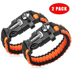 2PCS PACK 8 Multifunctional Paracord Bracelet Sahara Sailor Outdoor Survival Kit Parachute Cord Buckle W Compass Flint Fire Starter Scraper Whistle for Hiking Camping for Kids and Womens >>> Check out this great product.