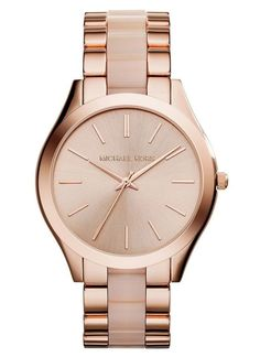 ae4c2b54011b Michael Kors Women s Slim Runway Blush Acetate and Rose Gold-Tone Stainless  Steel Bracelet Watch - Michael Kors - Jewelry   Watches - Macy s