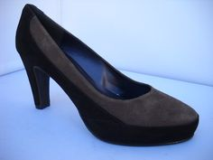 Brenda Zaro from Spain. Two tone suede court with heel and front platform. Available in Black/Chocolate. Court Heels, Smart Casual, Work Wear, Spain, High Heels, Dress Shoes, Platform, Footwear, Range