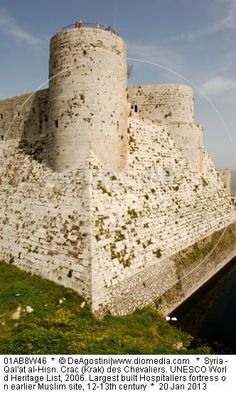 Syria - Qal'at al-Hisn. Crac (Krak) des Chevaliers. UNESCO World Heritage List, 2006. Largest built Hospitallers fortress on earlier Muslim site, 12-13th century