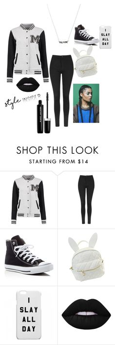 """swagged out"" by queen-jari ❤ liked on Polyvore featuring Topshop, Converse, cutekawaii, Lime Crime, Marc Jacobs, contestentry and styleinsider"