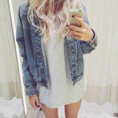 denim jacket over dress