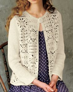 Cardigan con frente en crochet y mangas tricot, gráficos y detalles aquí: http://www.bianzhile.com/p/21123 (C. 6-10-2015) crochet motif & knit top
