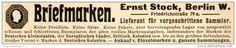 Original-Werbung/ Anzeige 1914 - BRIEFMARKEN / STOCK / BERLIN - ca. 115 x 20 mm